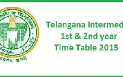 Telangana Intermediate Exam Timetable 2015