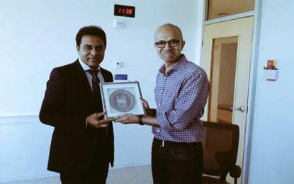 Telangana IT Minister meets Microsoft CEO Satya Nadella in the US