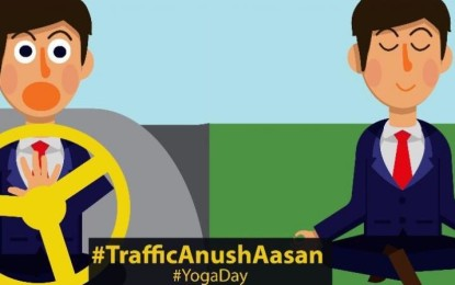 """Mumbai police promote road safety with clever """"traffic asans"""" on Yoga Day"""