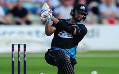 Watch: Ross Whiteley of Worcestershire makes a Yuvraj Singh during the T20 Blast match