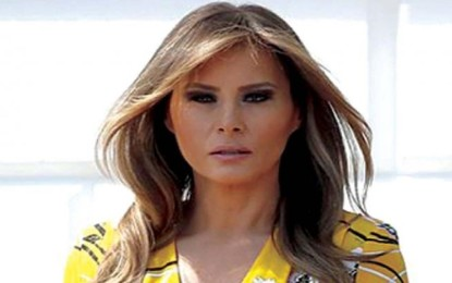 The First Lady of the United States is inside the guest house of Hamburg before anti-G20 protests