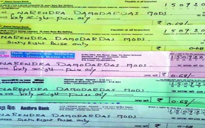 Kurnool farmers send checks from 68 Paise to PM