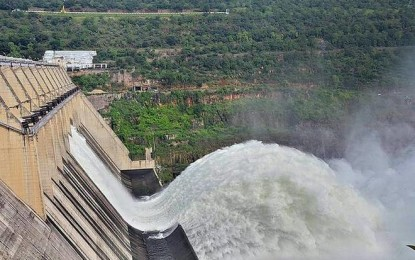 Two spillway gates of Srisailam Project opened